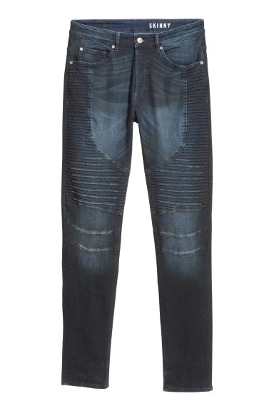 Skinny Biker Jeans - Dark denim blue - Men | H&M CN
