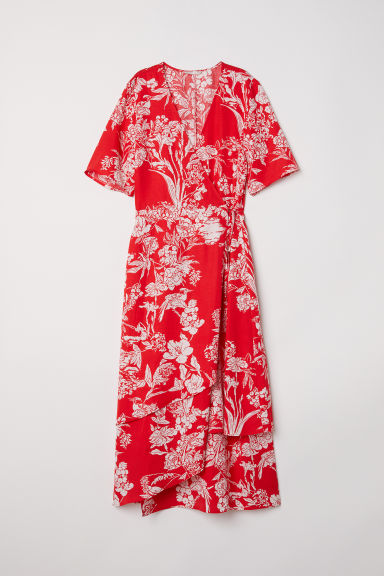 Wrap dress - Red/Patterned -  | H&M CN