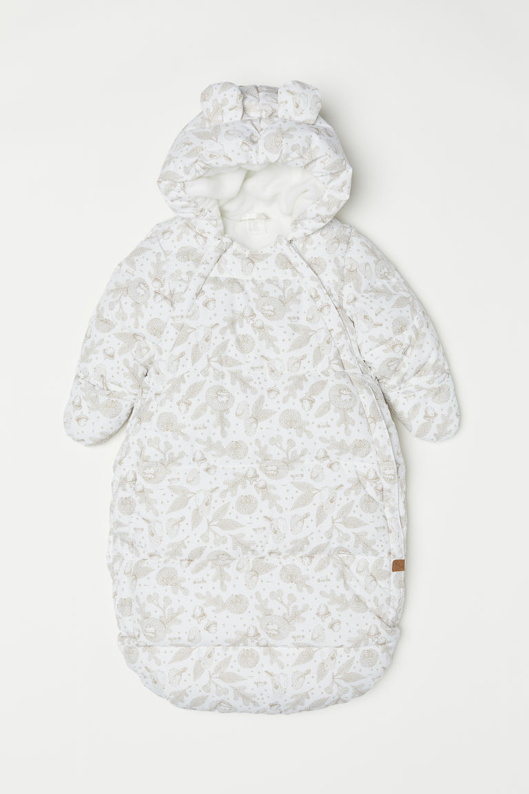 Padded footmuff - White/Forest animals - Kids | H&M
