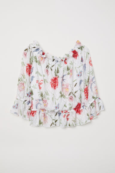 Off-the-shoulder blouse - White/Floral - Ladies | H&M CN