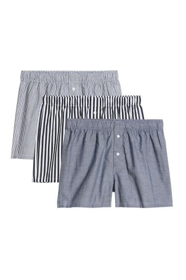 3-pack woven boxer shorts - Dark blue/White striped -  | H&M CN