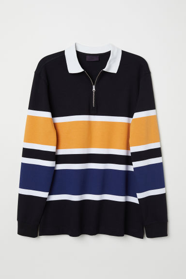 Top with a collar - White/Black striped - Men | H&M