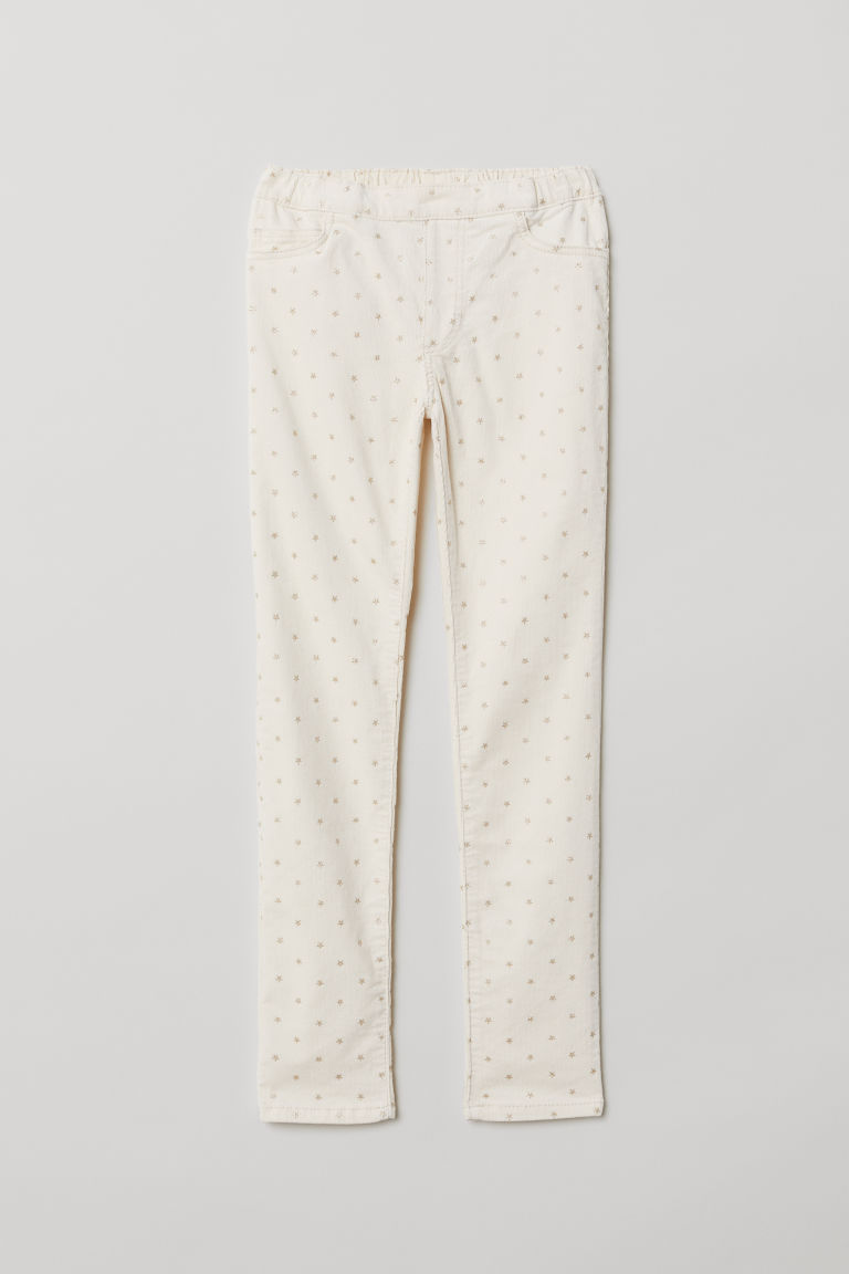 Corduroy treggings - Light beige/Stars - Kids | H&M CN