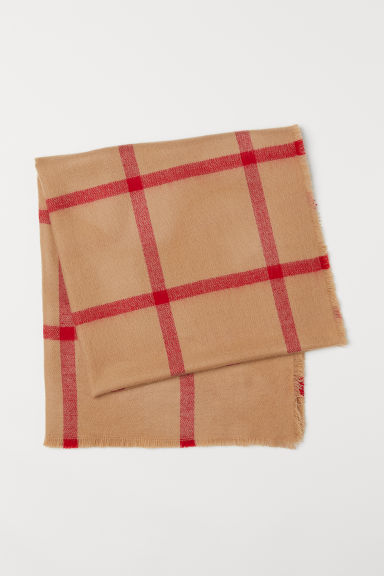 Checked Scarf - Camel/checked - Ladies | H&M US