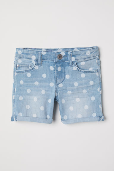 Spotted denim shorts - Light denim blue/Spotted - Kids | H&M