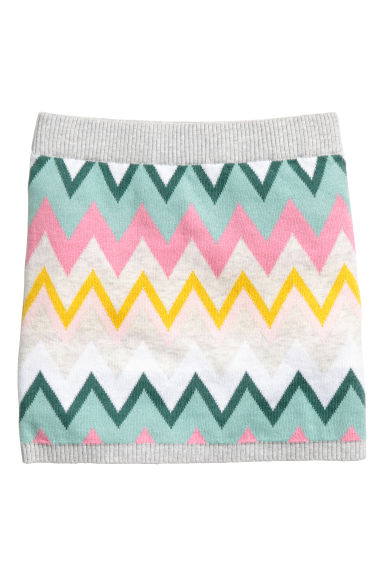 Jacquard-knit skirt - Grey/Multicoloured -  | H&M GB