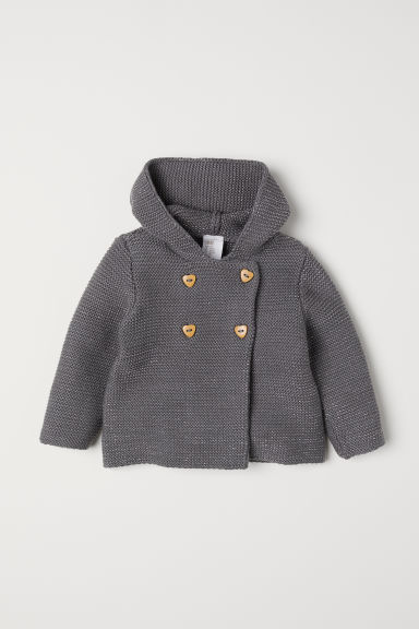 Purl-knit hooded cardigan - Dark grey/Glittery - Kids | H&M