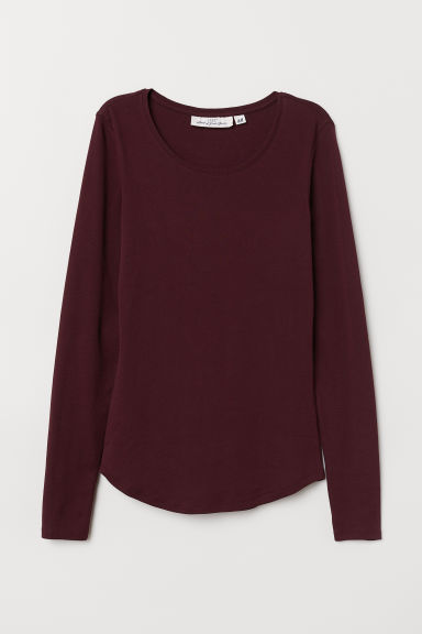 Long-sleeved Jersey Top - Burgundy - Ladies | H&M US