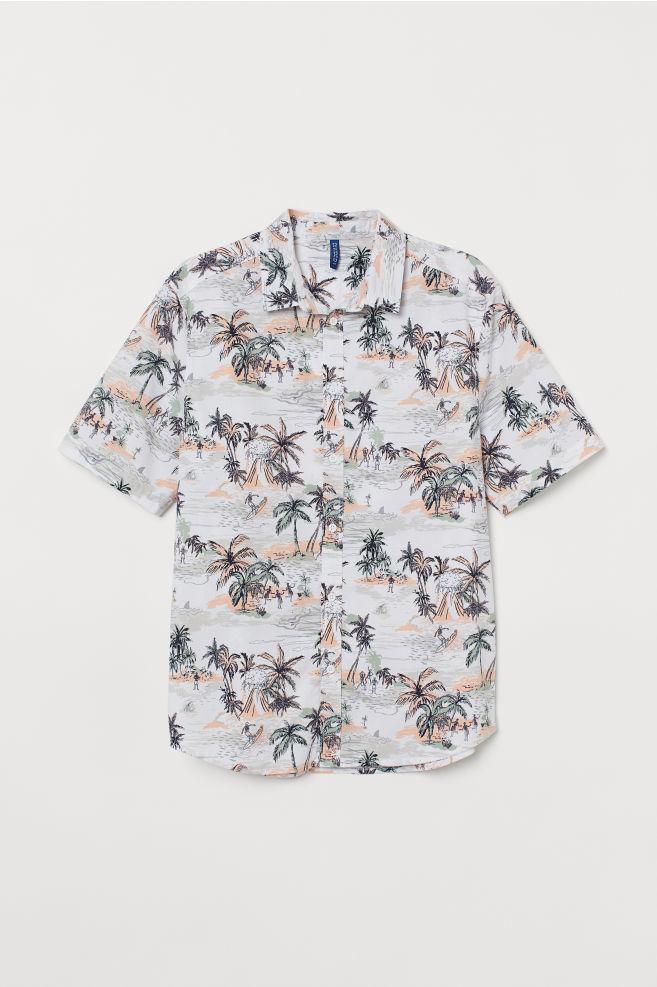 d5650be7a ... Camisa estampada de algodón - Blanco Multicolor - HOMBRE