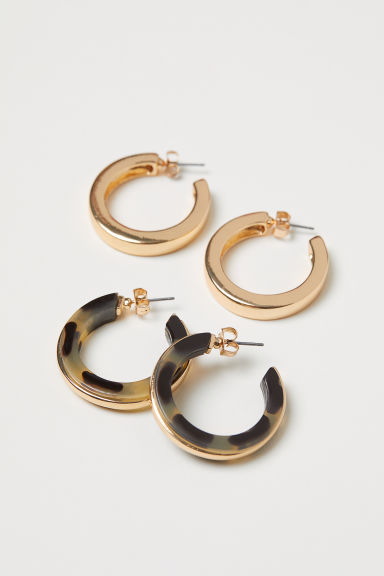 2 pairs hoop earrings - Gold-coloured/Patterned - Ladies | H&M