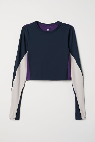 Top da yoga corto - Blu scuro/color block - DONNA | H&M IT