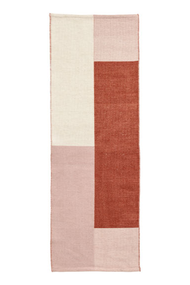 Block-patterned wool-blend rug - Rust brown/Multicoloured -  | H&M CN