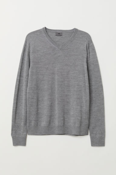 V-neck merino wool jumper - Grey marl - Men | H&M