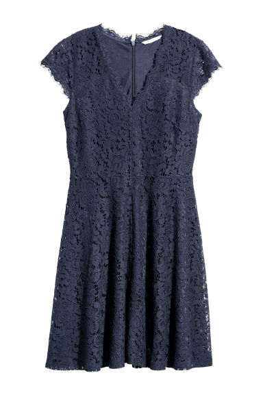 Abito in pizzo - Blu scuro - DONNA | H&M IT