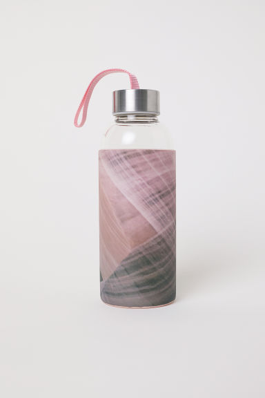 Glass water bottle - Pink/Patterned - Home All | H&M