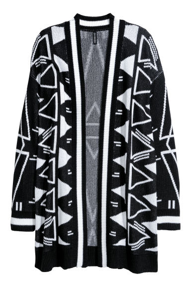 Jacquard-knit cardigan - Black/White patterned -  | H&M CN