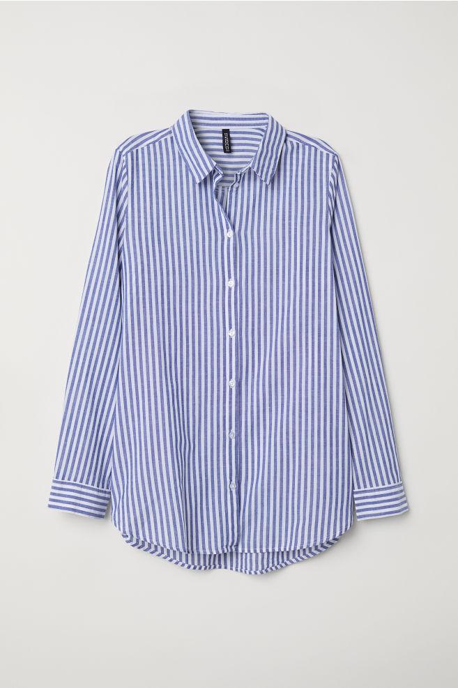 d167d1b70b2 Cotton Shirt - Blue white striped -