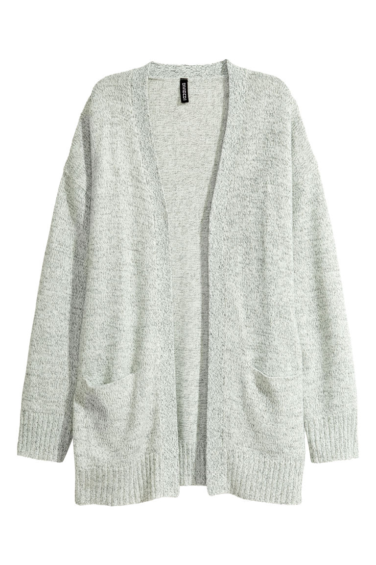 Knitted cardigan - Natural white marl -  | H&M