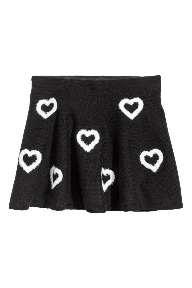 57e23d7a11 Fine-knit skirt - Black/Hearts - Kids   H&M ...