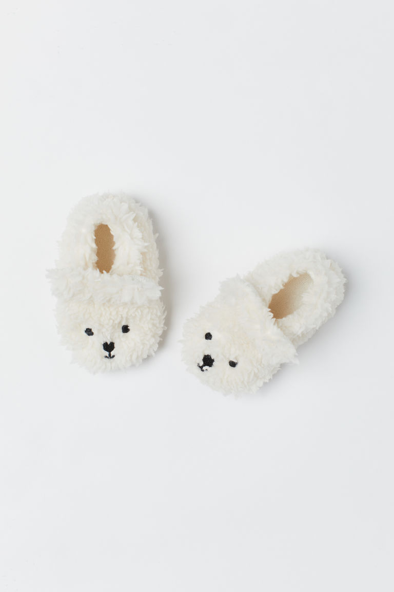 Soft pile slippers - White/Polar bear - Kids | H&M CN