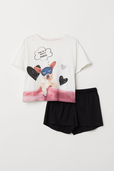 Pyjama top and shorts - White - Kids | H&M