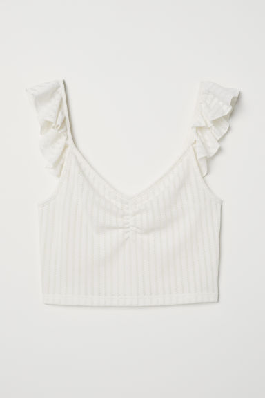 Frilled pointelle top - Cream -  | H&M CN