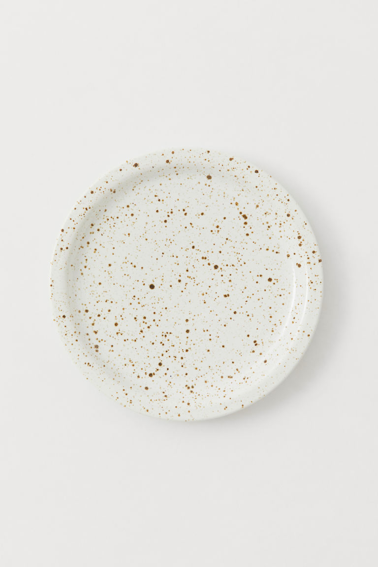 Ceramic plate - White/Brown speckled - Home All | H&M CN