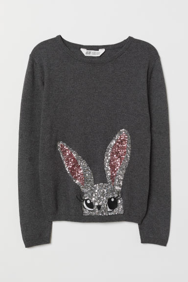 Jumper with sequins - Grey/Rabbit - Kids | H&M