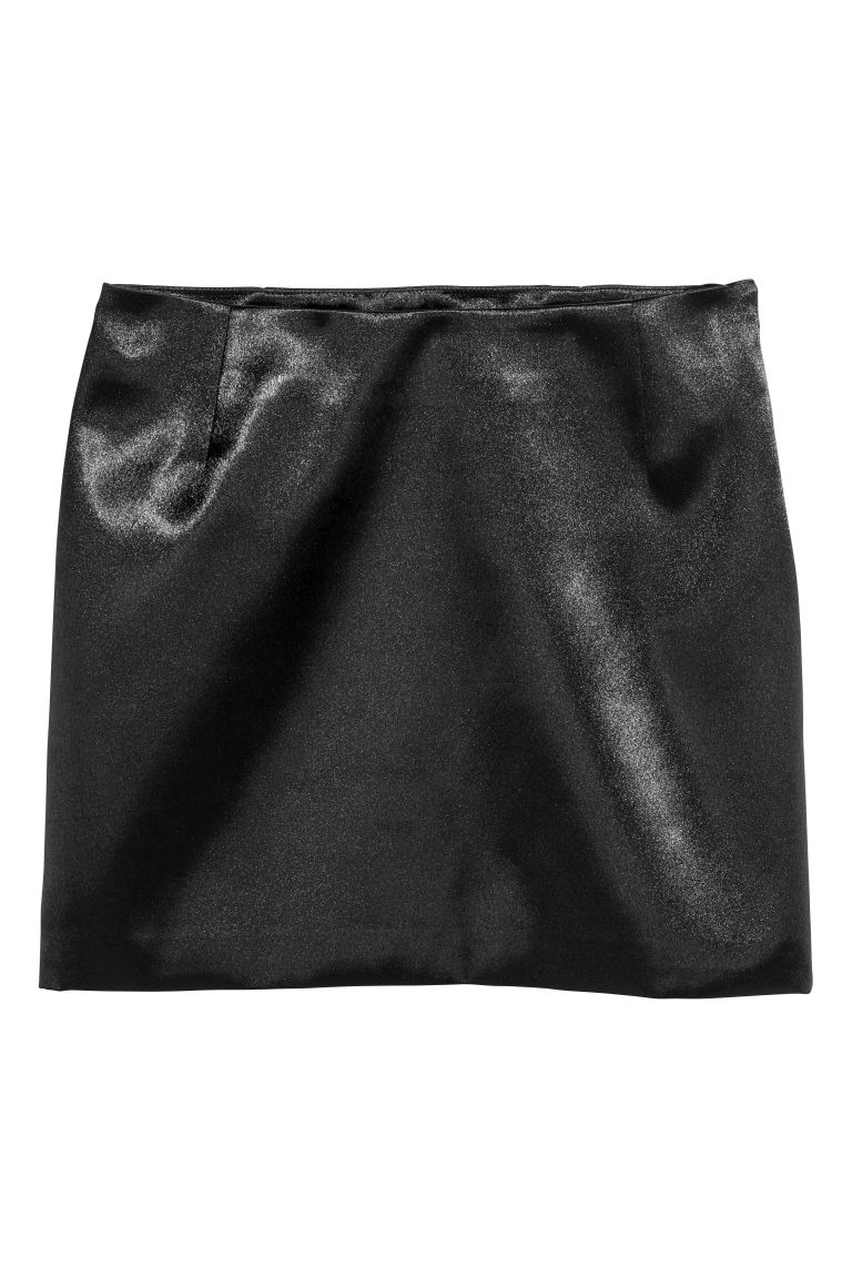 Short satin skirt - Black - Ladies | H&M