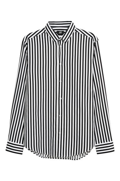 Cotton shirt Regular fit - White/Black striped - Men | H&M