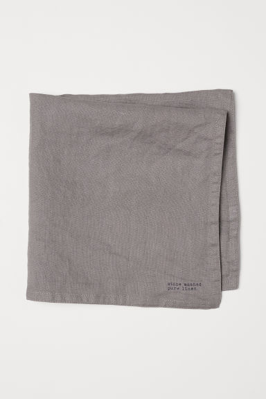 Washed linen napkin - Grey - Home All | H&M CN