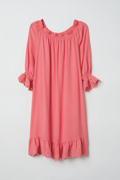 Off-the-shoulder dress - Coral pink - Ladies | H&M CN