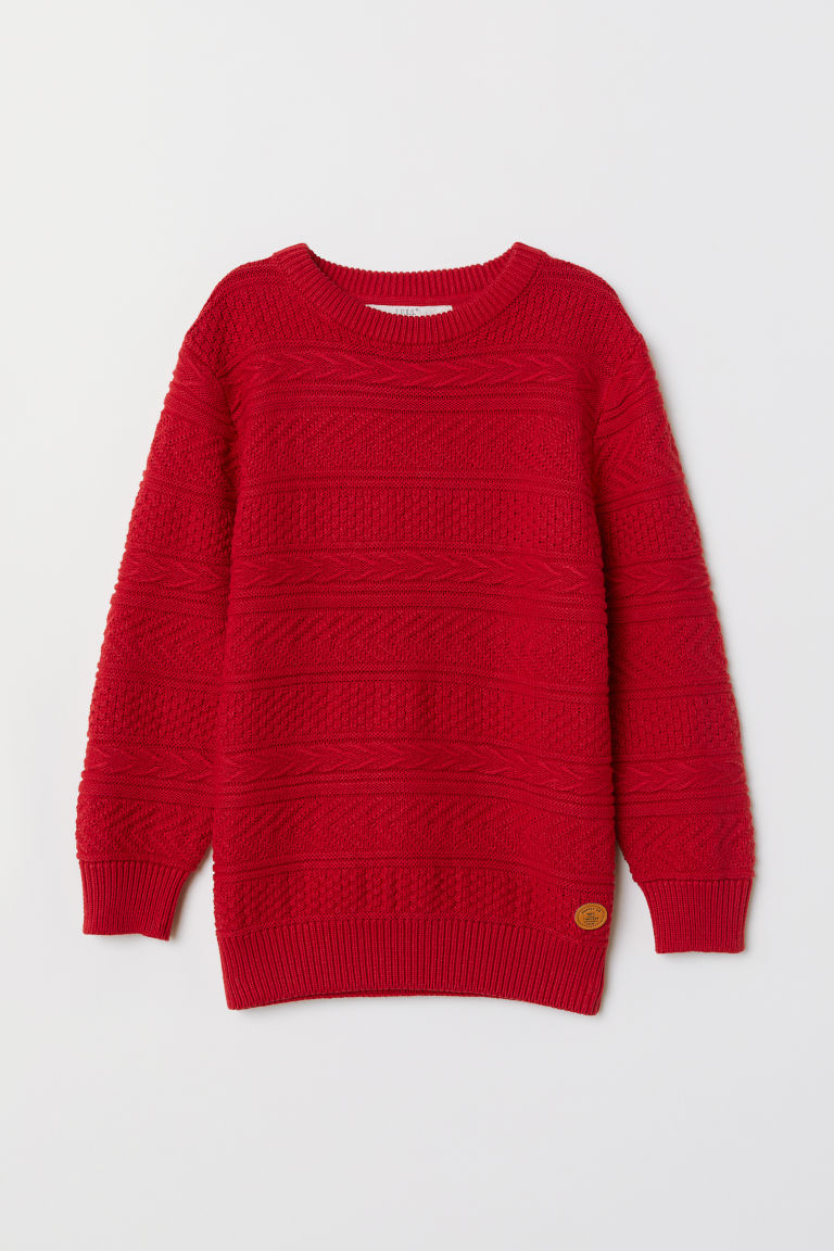 Textured-knit jumper - Red -  | H&M
