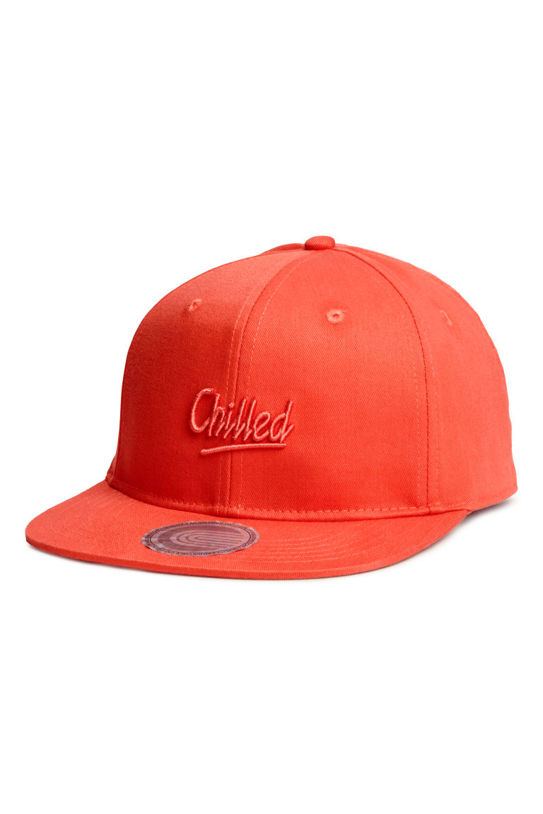 Cap with embroidery - Neon orange - Kids | H&M