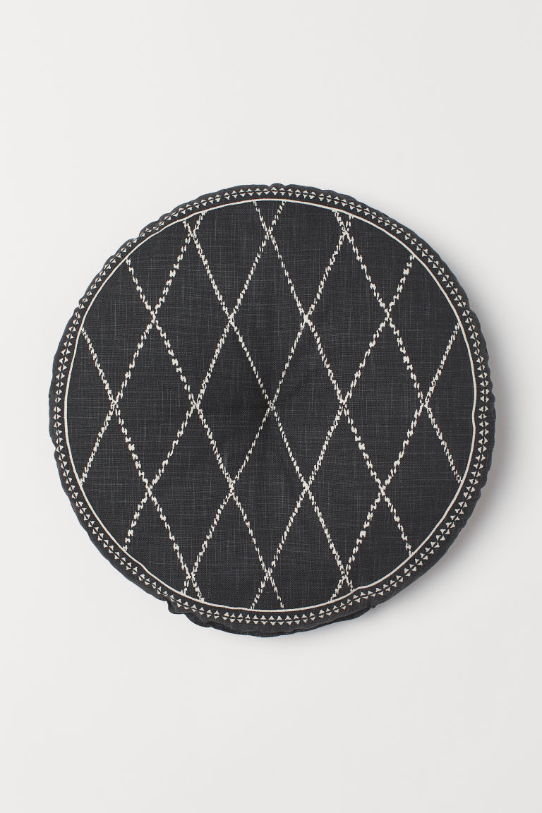 Cotton seat cushion - Dark grey/Patterned - Home All | H&M CN