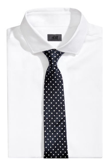 Silk tie - Dark blue/Spotted - Men | H&M