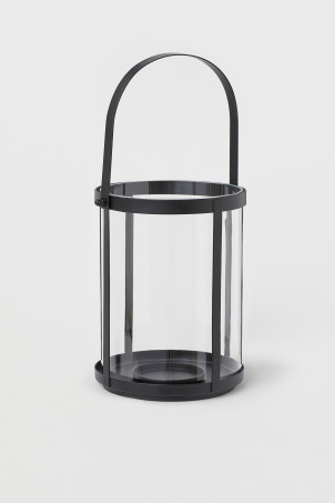 Glass and metal candle lantern