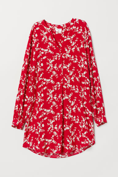 Patterned viscose dress - Red/Floral - Ladies | H&M
