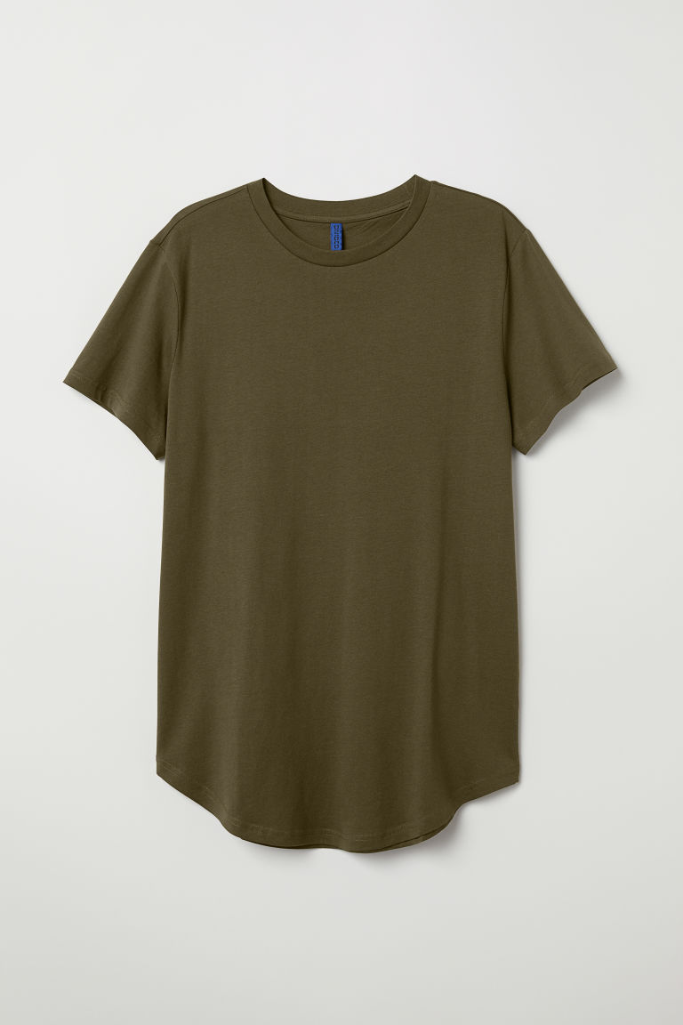 Long Fit T-shirt - Dark khaki green - Men | H&M US