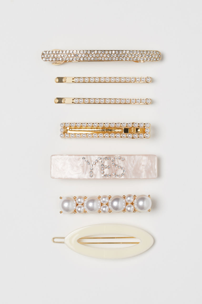 7-pack hair clips - Gold-coloured/Light pink - Ladies | H&M GB