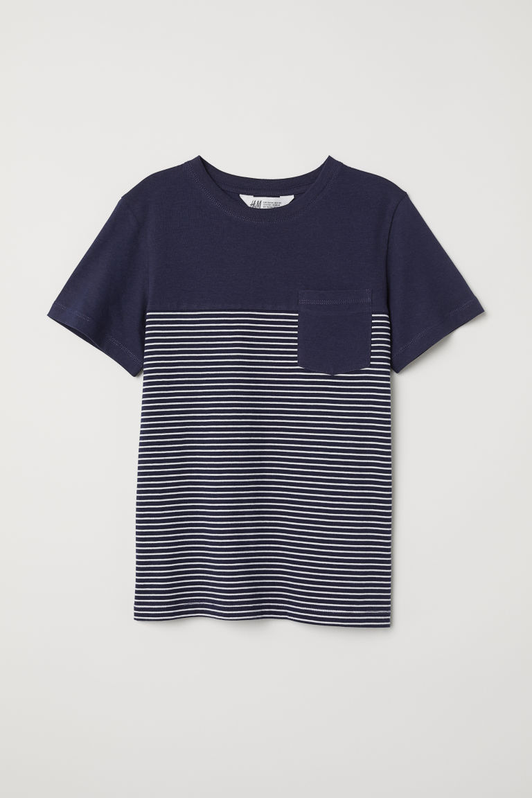 T-shirt with a chest pocket - Dark blue -  | H&M CN
