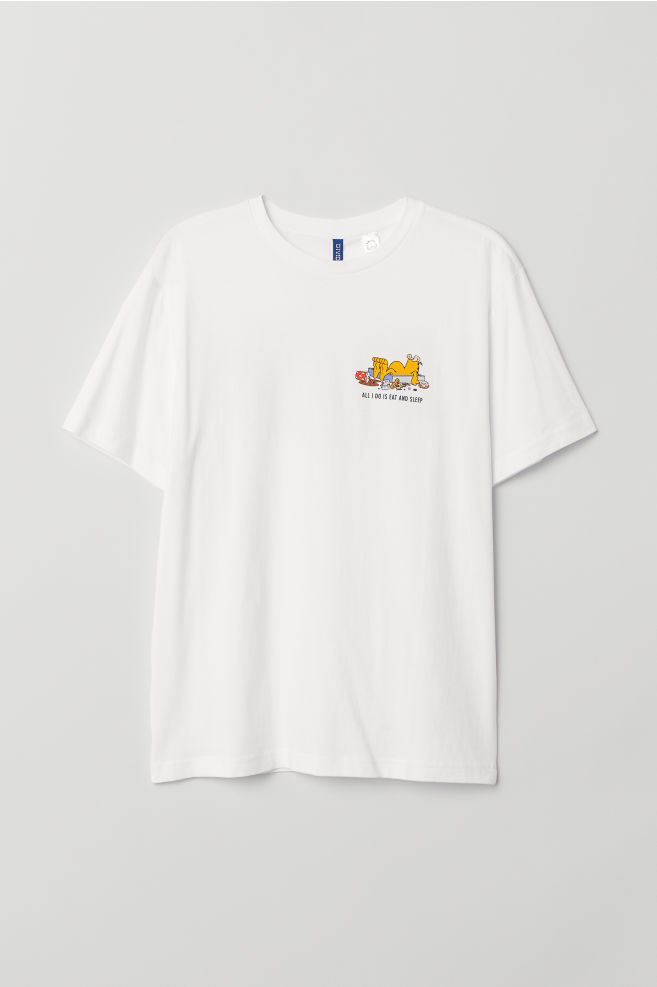 0a076faa7 T-shirt with Motif - White/Garfield - Men | H&M ...