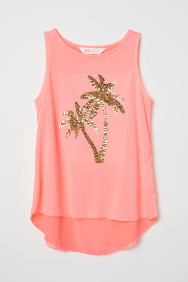 Vest top with a motif - Pink/Palm tree - Kids | H&M CN