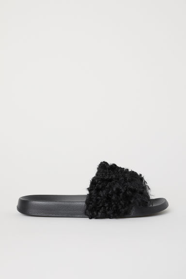 Faux fur slides - Black - Ladies | H&M CN