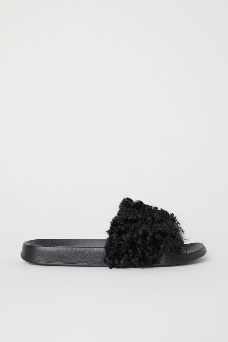 Faux fur slides - Black -  | H&M