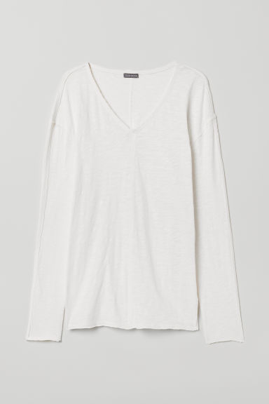 V-neck Jersey Shirt - White - Men | H&M US