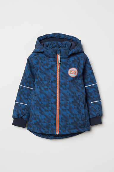 Padded softshell jacket - Dark blue/Patterned - Kids | H&M CN
