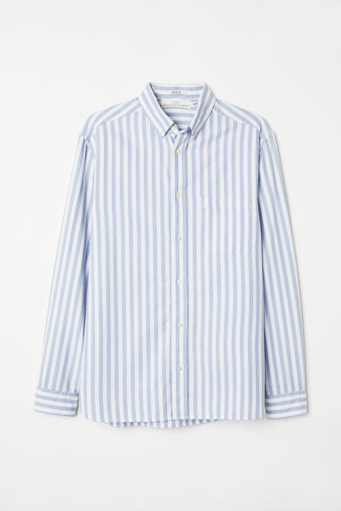 Oxford shirt Regular fit - Light blue/White striped - Men | H&M CN