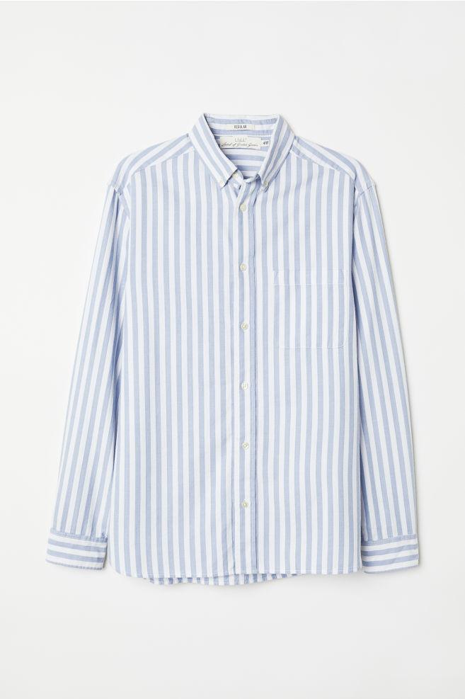 f99f1a80ef9cb Oxford Shirt Regular fit - Light blue/white striped - Men | H&M ...