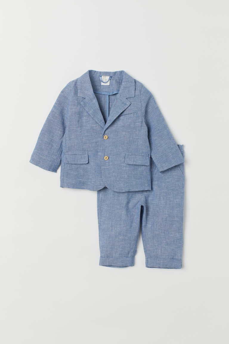 Completo in misto lino - Blu chambray - BAMBINO | H&M IT